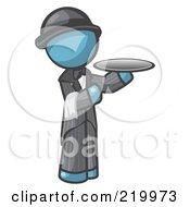 Denim Blue Man Butler Serving A Platter