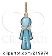 Royalty Free RF Clipart Illustration Of A Denim Blue Design Mascot Man Hanging From A Rope by Leo Blanchette