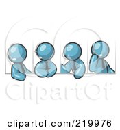 Royalty Free RF Clipart Illustration Of Four Different Denim Blue Men Wearing Headsets And Having A Discussion During A Phone Meeting