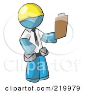 Royalty Free RF Clipart Illustration Of A Denim Blue Man Construction Site Supervisor Holding A Clipboard