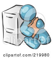 Royalty Free RF Clipart Illustration Of A Denim Blue Man Sitting By A Filing Cabinet And Holding A Folder by Leo Blanchette