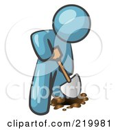Royalty Free RF Clipart Illustration Of A Denim Blue Man Using A Shovel To Dig A Hole For A Plant In A Garden by Leo Blanchette