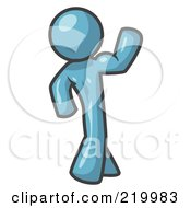 Royalty Free RF Clipart Illustration Of A Denim Blue Man Flexing His Muscles