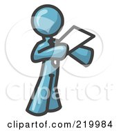 Royalty Free RF Clipart Illustration Of A Denim Blue Businessman Holding A Piece Of Paper During A Speech Or Presentation