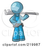Royalty Free RF Clipart Illustration Of A Denim Blue Man Plumber With A Tool by Leo Blanchette