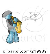 Royalty Free RF Clipart Illustration Of A Musical Denim Blue Man Playing Jazz With A Saxophone