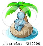 Denim Blue Man Sitting All Alone With A Palm Tree On A Deserted Island