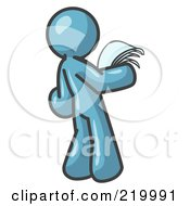 Royalty Free RF Clipart Illustration Of A Serious Denim Blue Man Reading Papers And Documents by Leo Blanchette