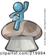 Royalty Free RF Clipart Illustration Of A Denim Blue Man Design Mascot Waving And Sitting On A Mushroom by Leo Blanchette