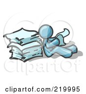 Denim Blue Man Leaning Against A Stack Of Papers