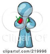 Royalty Free RF Clipart Illustration Of A Healthy Denim Blue Man Carrying A Fresh And Organic Apple And Cucumber