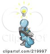 Royalty Free RF Clipart Illustration Of A Smart Denim Blue Man Seated With His Legs Crossed Brainstorming And Writing Ideas Down In A Notebook Lightbulb Over His Head