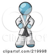 Royalty Free RF Clipart Illustration Of A Tough Denim Blue Man In A White Karate Suit And A Black Belt Standing With His Hands On His Hips