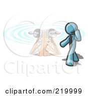 Royalty Free RF Clipart Illustration Of A Denim Blue Businessman Talking On A Cell Phone A Communications Tower In The Background