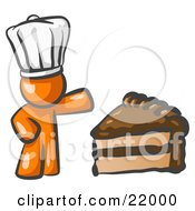 Clipart Picture Illustration Of An Orange Chef Man Wearing A White Hat And Presenting A Tasty Slice Of Chocolate Cake by Leo Blanchette