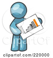 Royalty Free RF Clipart Illustration Of A Denim Blue Man Holding A Bar Graph Displaying An Increase In Profit