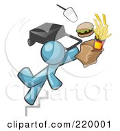 Royalty Free RF Clipart Illustration Of A Denim Blue Man Tripping On Stairs With Fast Food And A Rolling Briefcase Flying