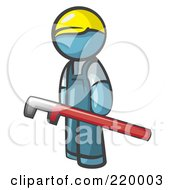 Royalty Free RF Clipart Illustration Of A Denim Blue Man Design Mascot With A Red Pipe Wrench