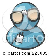 Royalty Free RF Clipart Illustration Of A Denim Blue Man Wearing Large Nerdy Glasses