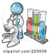 Royalty Free RF Clipart Illustration Of A Denim Blue Man Scientist Using A Microscope By Vials