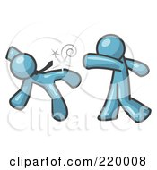 Royalty Free RF Clipart Illustration Of A Denim Blue Man Being Punched By Another by Leo Blanchette