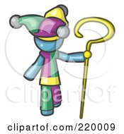 Royalty Free RF Clipart Illustration Of A Denim Blue Man In A Jester Costume Holding A Yellow Staff