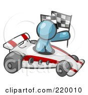 Royalty Free RF Clipart Illustration Of A Denim Blue Man Driving A Fast Race Car Past Flags While Racing