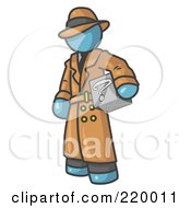 Royalty Free RF Clipart Illustration Of A Secretive Denim Blue Man In A Trench Coat And Hat Carrying A Box With A Question Mark On It