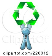 Denim Blue Man Holding Up Three Green Arrows Forming A Triangle And Moving In A Clockwise Motion Symbolizing Renewable Energy And Recycling