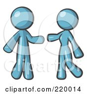 Royalty Free RF Clipart Illustration Of A Denim Blue Man And Woman Preparing To Embrace