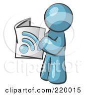 Royalty Free RF Clipart Illustration Of A Denim Blue Man Standing And Reading An RSS Magazine