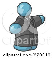 Royalty Free RF Clipart Illustration Of A Big Denim Blue Business Man In A Suit And Tie