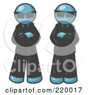 Royalty Free RF Clipart Illustration Of Two Denim Blue Men Standing With Their Arms Crossed Wearing Sunglasses And Black Suits