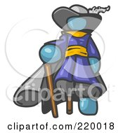 Royalty Free RF Clipart Illustration Of A Denim Blue Male Pirate With A Cane And A Peg Leg by Leo Blanchette