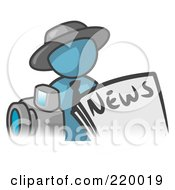 Denim Blue Man Wearing A Hat Posed In Front Of The News And A Camera