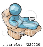 Royalty Free RF Clipart Illustration Of A Chubby And Lazy Denim Blue Man With A Beer Belly Sitting In A Recliner Chair With His Feet Up
