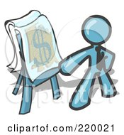 Royalty Free RF Clipart Illustration Of A Denim Blue Business Man Standing By A Dollar Sign Puzzle On A Presentation Board During A Meeting