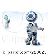 Royalty Free RF Clipart Illustration Of A Denim Blue Man Inventor Operating An Blue Robot With A Remote Control