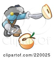 Royalty Free RF Clipart Illustration Of A Denim Blue Man Pirate With A Hook Hand Holding A Sliced Apple On A Sword by Leo Blanchette