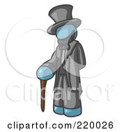 Royalty Free RF Clipart Illustration Of A Denim Blue Man Depicting Abraham Lincoln With A Cane