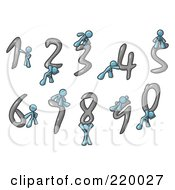 Royalty Free RF Clipart Illustration Of A Denim Blue Men With Numbers 0 Through 9