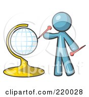 Royalty Free RF Clipart Illustration Of A Denim Blue Man Inserting Pins On A Globe