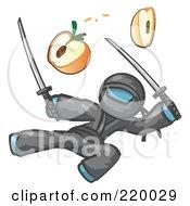 Denim Blue Man Ninja Jumping And Slicing An Apple With Swords