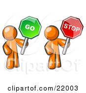 Clipart Picture Illustration Of Orange Men Holding Red And Green Stop And Go Signs by Leo Blanchette
