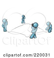 Royalty Free RF Clipart Illustration Of A Wireless Telephone Network Of Denim Blue Men Talking On Cell Phones