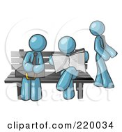 Royalty Free RF Clipart Illustration Of A Denim Blue Men At A Bench At A Bus Stop
