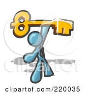Royalty Free RF Clipart Illustration Of A Denim Blue Businessman Holding A Large Golden Skeleton Key Symbolizing Success