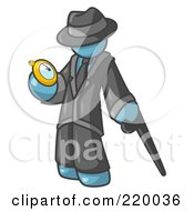 Royalty Free RF Clipart Illustration Of A Denim Blue Businessman Checking His Pocket Watch