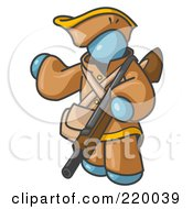 Royalty Free RF Clipart Illustration Of A Denim Blue Man In Hunting Gear Carrying A Rifle