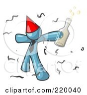 Royalty Free RF Clipart Illustration Of A Happy Denim Blue Man Partying With A Party Hat Confetti And A Bottle Of Liquor